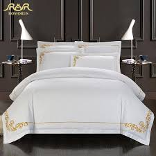 find more bedding sets information about romorus 100 cotton embroidered hotel duvet cover set white