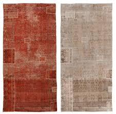 A Woven rug that they had overdyed (left) and then rinsed of the dye  (right), restoring it to its original glory.