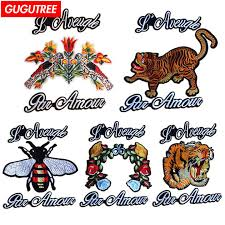 <b>GUGUTREE embroidery big</b> tiger patches <b>bee</b> letter flower badge ...