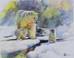 lian quan zhen polar bears watercolour