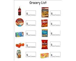 Grocery List Prices Grocery List Price Sheet