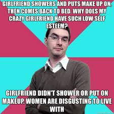 friend showers and puts make up on then es back to bed why does my crazy friend have such low self esteem friend didn t shower or put on