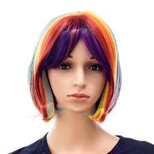 Swacc Rainbow Costume Wigs Short Hair Bob Wig For Cosplay Party
