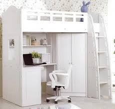 bedroom excellent neat white loft bed with work table and cupboard under the bed