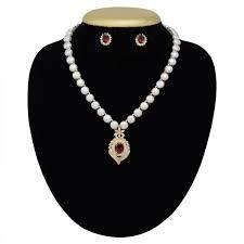 amazingly beautiful pearl necklace set with stylish red stone pendant 1200x1200 jpg