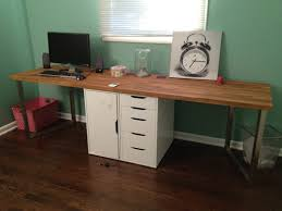 simple home office furniture. Simple Home Office Furniture Decoration With Long Custom Butcher Block Desk Top Stainless Steel Base And File Cabinet 5 Drawer Painted White A