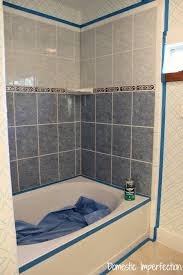 how to refinish outdated tile yes i painted my shower domestic rh domesticimperfection com painting floor ceramic tiles bathroom paint ceramic tiles