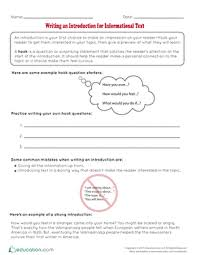 th grade essay writing worksheets printables com writing an introduction for informational text