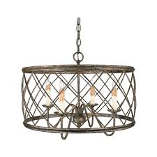 drum pendant light with silver cage shade in century silver leaf fin
