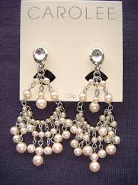 ee pink pearl chandelier clip earrings