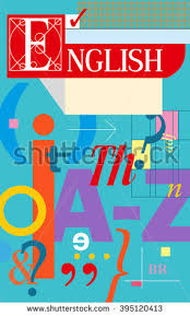 english cover textbook and notebook book with english symbols vector ilration