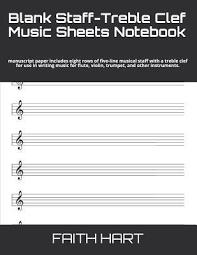 Staff Paper Treble Blank Staff Treble Clef Music Sheets Notebook Manuscript Paper