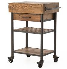 kershaw rustic chunky reclaimed wood iron single drawer kitchen within rustic kitchen island cart with regard