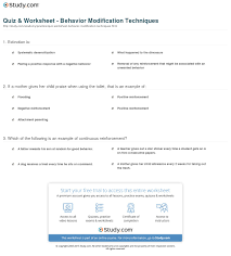 quiz worksheet behavior modification techniques com print what is behavior modification definition techniques examples worksheet