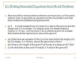 c writing sinusoidal equations from word problems