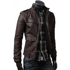 dark brown mens slim fitted leather jacket