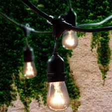 Lemontec Commercial Grade Outdoor String Lights Lemontec Commercial Grade Outdoor String Lights With 15 Hanging Sockets 48 Ft Black Weatherproof Cord Weatherproof Strand For Patio Garden Porch