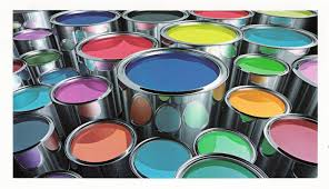 Open cans of various colors of paint