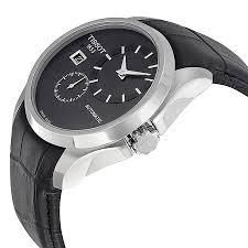 tissot couturier automatic black dial black leather mens watch tissot