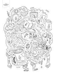 Junk Food Monster Adult Coloring Book
