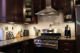 White subway tile backsplash with dark cabinets choice image awesome backsplash  tile with dark cabinets also