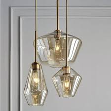west elm lighting sculptural glass geo 3 light chandelier mixed when does have s