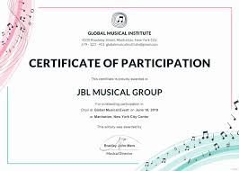 Choir Certificate Template 30 Talent Show Participation Certificate Pryncepality