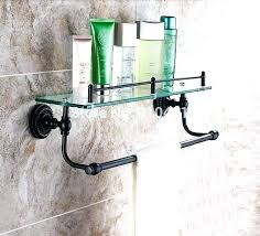 glass shelf with towel bar glass shelf towel bars oil rubbed bronze dual tier bathroom black