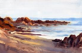 beach shadows watercolor seascape painting