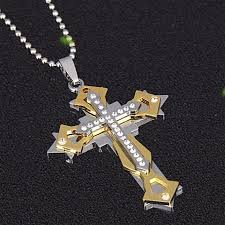 men crystal cross sweater necklaces jewelry