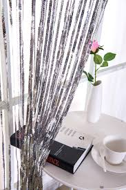 fancy glitter sequins string curtain panels for door window events decor with modern creative stripe fringe