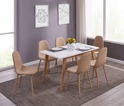Amazoncom Ids Kitchen Dining Table Set For 6 Mid Century Table