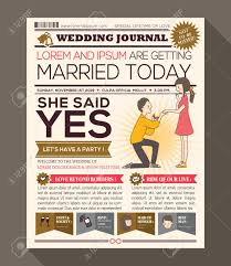 Wedding Invitation Newspaper Template Cartoon Newspaper Journal Wedding Invitation Vector Design Template