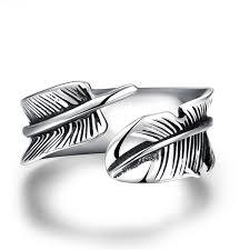 <b>GOMAYA</b> Men Vintage Rings Feather Leaf <b>316L Stainless Steel</b> ...