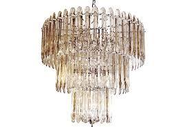 mid century modern chandelier beveled crystal modernism home