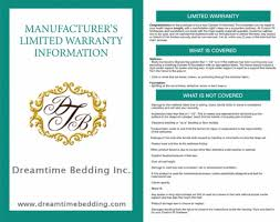 warranty card dream time bedding