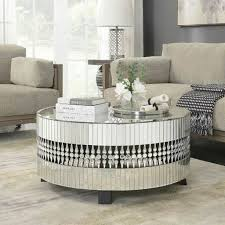 crystal round mirrored coffee table