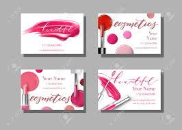 makeup artist business card vector template with makeup items pattern lipstick fashion and