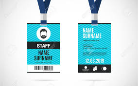 Identity Card Design Event Staff Id Card Set With Lanyard Vector Design And Text