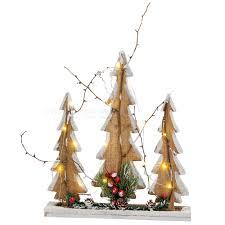 Tannenbaum Gruppe Holz 15 Leds Lichter Weihnachtsdeko Beleuchtung 35x40 Cm Matches21