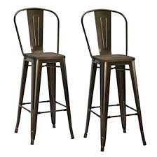 wood metal bar stools. DHP Luxor Metal Counter Stool With Wood Seat And Backrest, Set Of Two, 30\u0026quot Bar Stools M