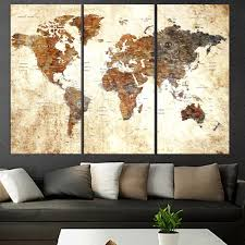 Dhgate.com provide a large selection of promotional three piece wall picture frames on sale at cheap price and excellent crafts. Amazon Com Original Art Set Of 3 Pieces Textured World Map Push Pin Canvas Wall Art For Living Room Large Canvas Print World Global Map With Names Framed Extra Large Wall Art For