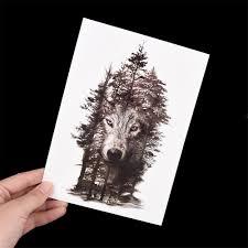 большой серый Diy наклейки волк тату временный