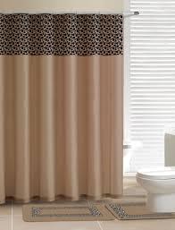 leopard beige shower curtain 15 pcs bath rug mat contour hooks bathroom set
