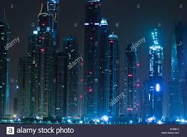 Dubai Skyline Of Skyscrapers By Night Lights From The
