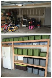 open shelving in a garage is a great storage solution for big tubs filled with your