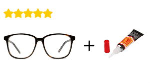plastic eyeglasses with superglue