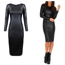 las womens wet look midi faux leather dress con long sleeves fitted black