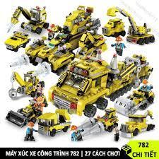 MÃ INCU16APR][762 CHI TIẾT] ĐỒ CHƠI LEGO XẾP HÌNH XÂY DỰNG THÀNH PHỐ GỒM  MÁY XÚC, XE CẨU, XE TẢI, XE TRỘN BÊ TÔNG tại Hà Nội