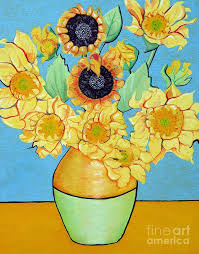 sunflower painting sunflowers tribute to vincent van gogh ii by christine belt